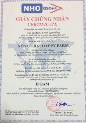 Chứng nhận hữu cơ do tổ chức NHO-QSCERT cấp cho Nông trại HappyFarm – Duy Tiên, Hà Nam (vườn Hữu cơ Phóng)