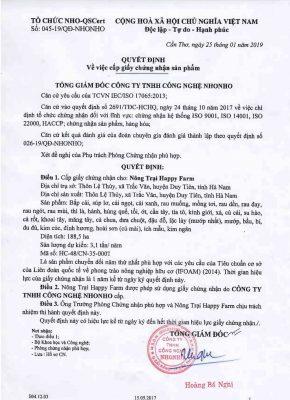 Quyết định cấp chứng nhận hữu cơ cho các nông sản tại Nông trại HappyFarm - Duy Tiên, Hà Nam (vườn Hữu cơ Phóng).
